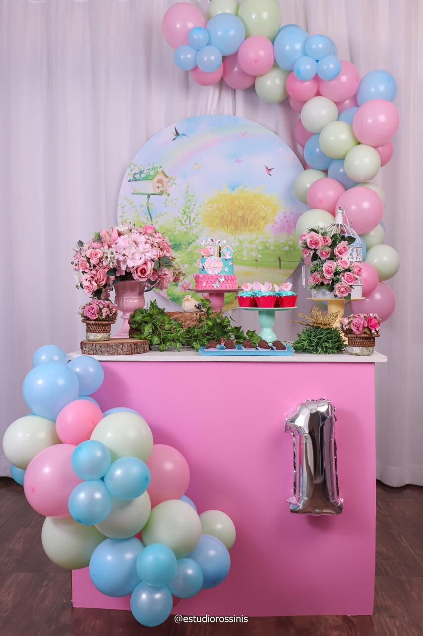 decoração da mesa do bolo no estúdio, Decoração por kids Fest Decorações em tema Jardim para a Laura  , @estudiorossinis