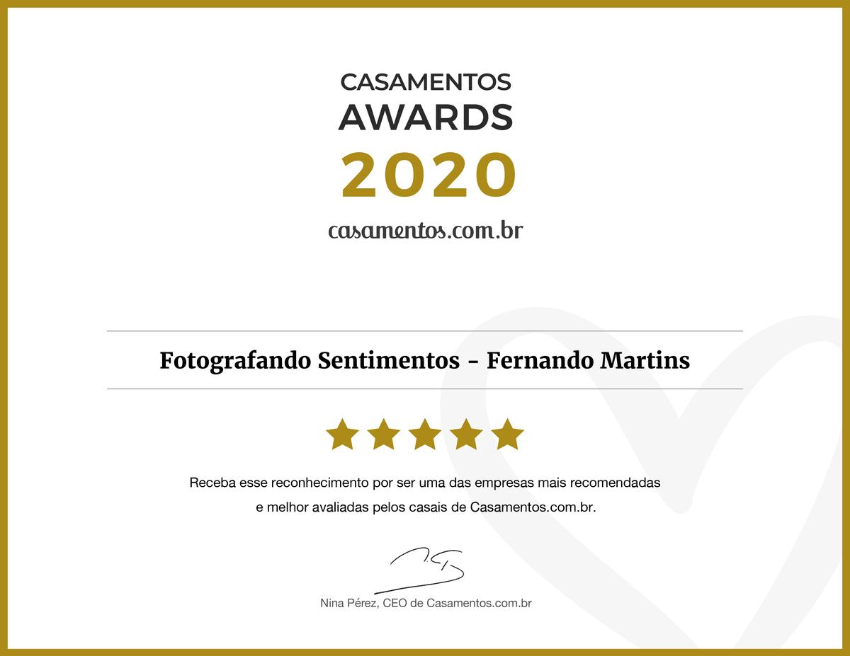 Imagem capa - CERTIFICAÇÃO CASAMENTOS AWARDS 2020  por Fernando Martins