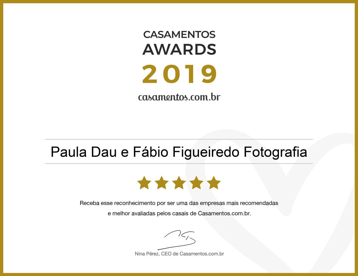Imagem capa - Paula Dau e Fábio Figueiredo Fotografia conquista Casamento Award na categoria Fotografia, o prêmio mais importante do setor nupcial. por Paula e Fábio Fotografia
