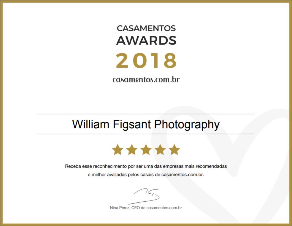 Imagem capa - Prêmio Awards 2018 Casamentos.com.br por William Figsant