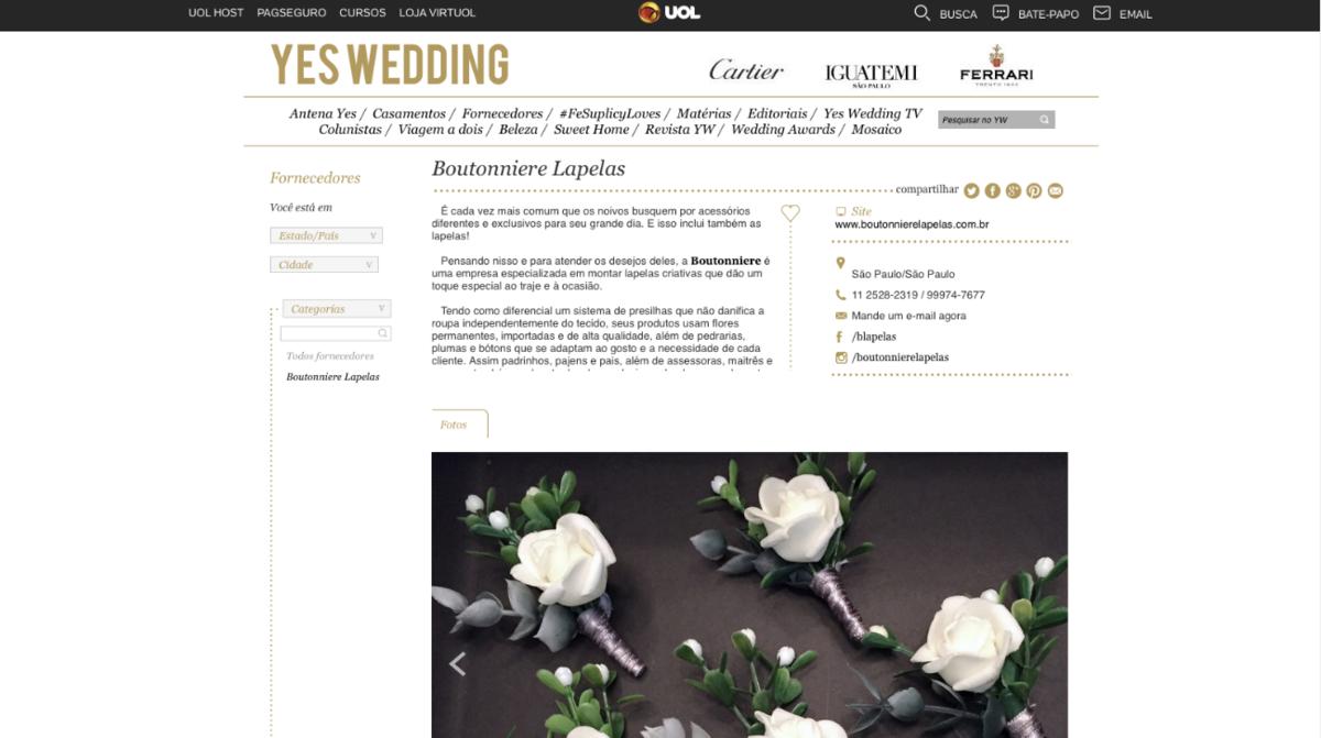 Imagem capa - Boutonniere Lapelas + YES WEDDING por Boutonniere Lapelas