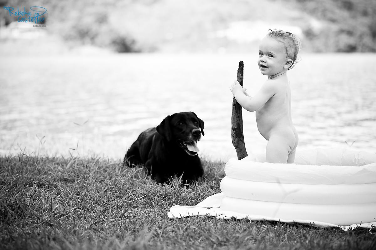 Foto de Ludmilla, Odilon e Samuel com 1 ano