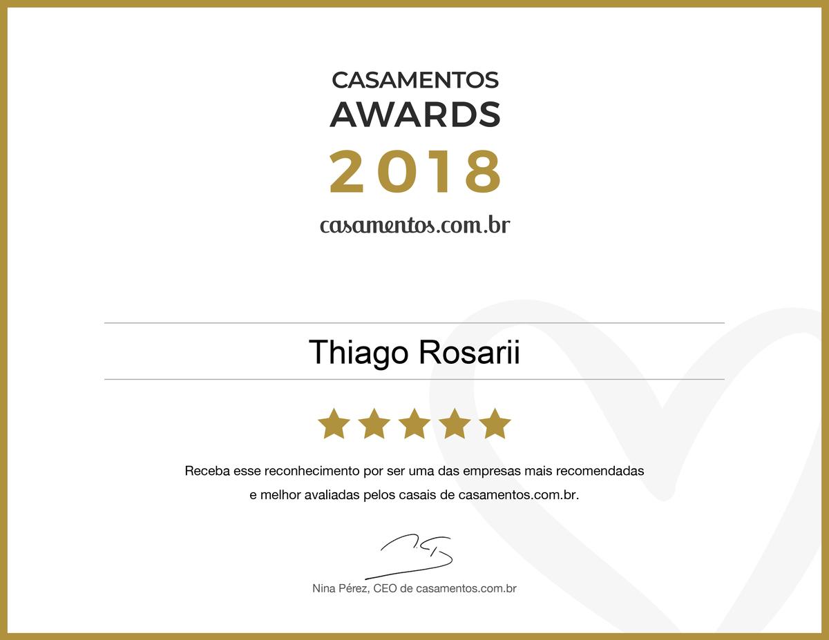 Imagem capa - Ganhamos o prêmio Casamentos Awards 2018 de Casamentos.com.br  por Thiago Rosarii - Fotografia