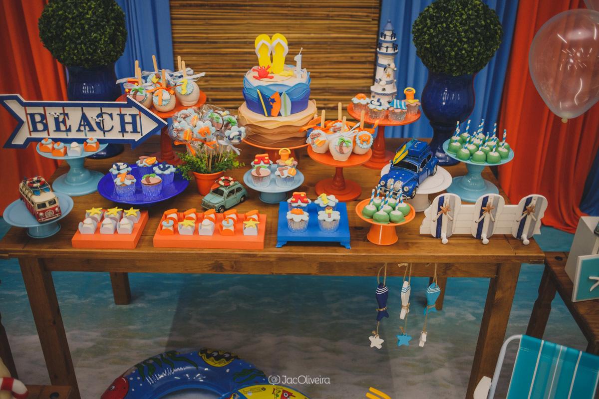 decoração festa de menino praia laranja e azul yupi festas canoas3