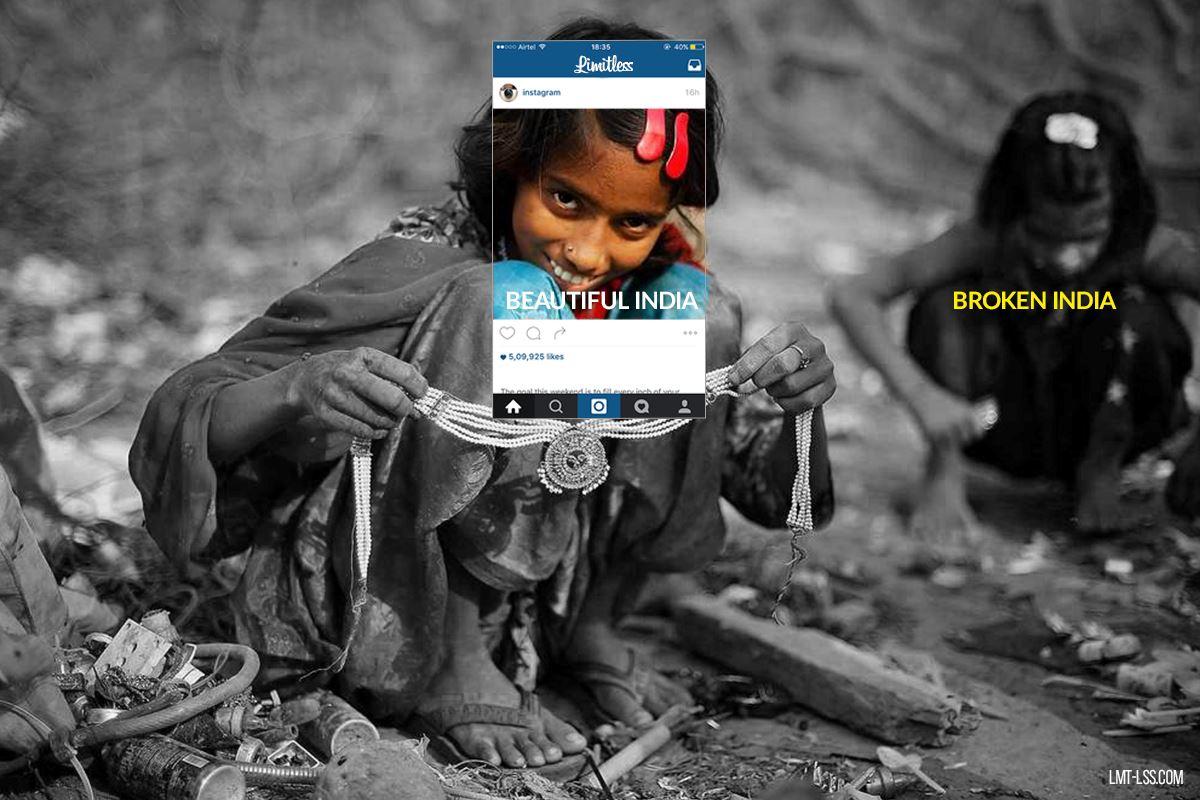 Imagem capa - Enquadramento - EXISTEM DOIS LADOS PARA UMA MESMA HISTORIA. #BROKENINDIA #LIMITLESS #FOTOJORNALISMO por Di Máximo