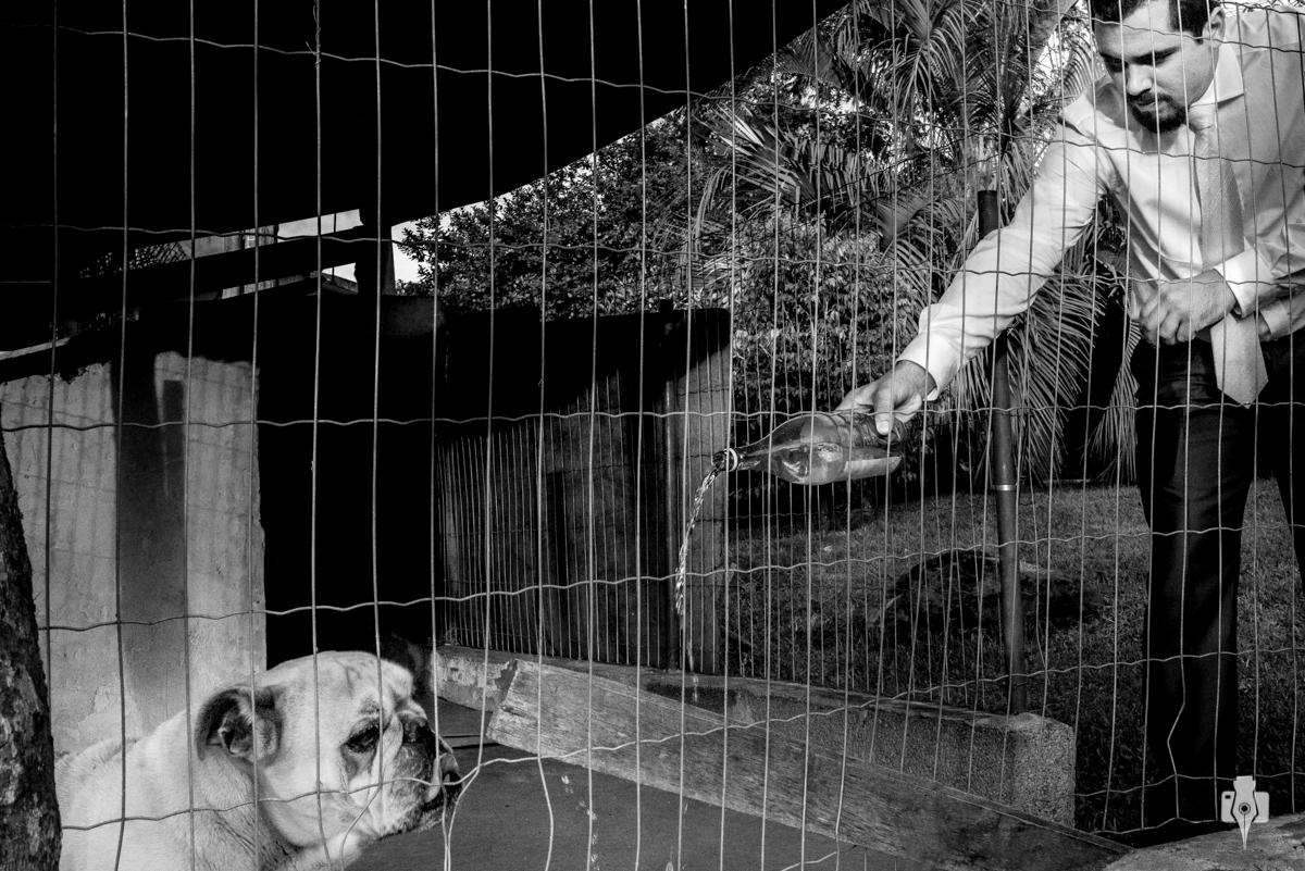 noivo dando agua pro cachorro ja de terno