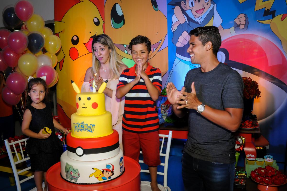 parabéns animado no Buffet Fantastic World, Morumbi São Paulo, Festa Infantil, aniversário de Jean Gabriel 8 anos, tema da festa Poke Mon