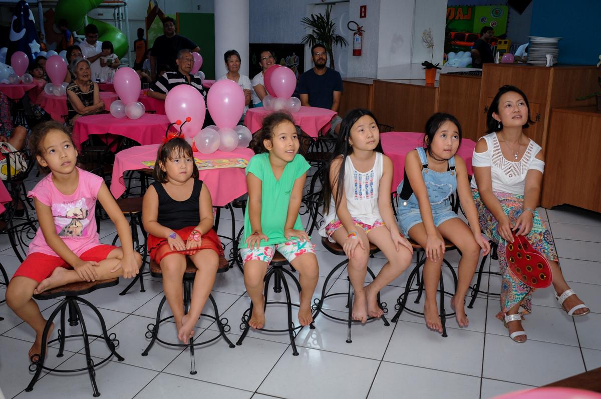 assistindo a retrospectiva no Buffet Fábrica da Alegria,festa infantil, aniversário infantil, fotografia infantil,aniversariante Karina 6 anos tema da festa Pet