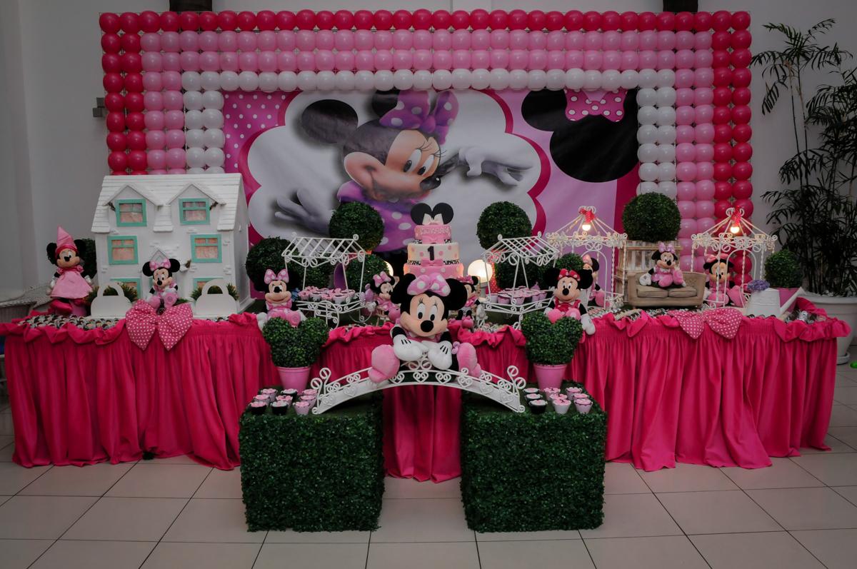 mesa decorada no Buffet Comics, Morumbi, São Paulo, SP, aniversario de Giovanna 1 aninho, tema da festa, minie rosa