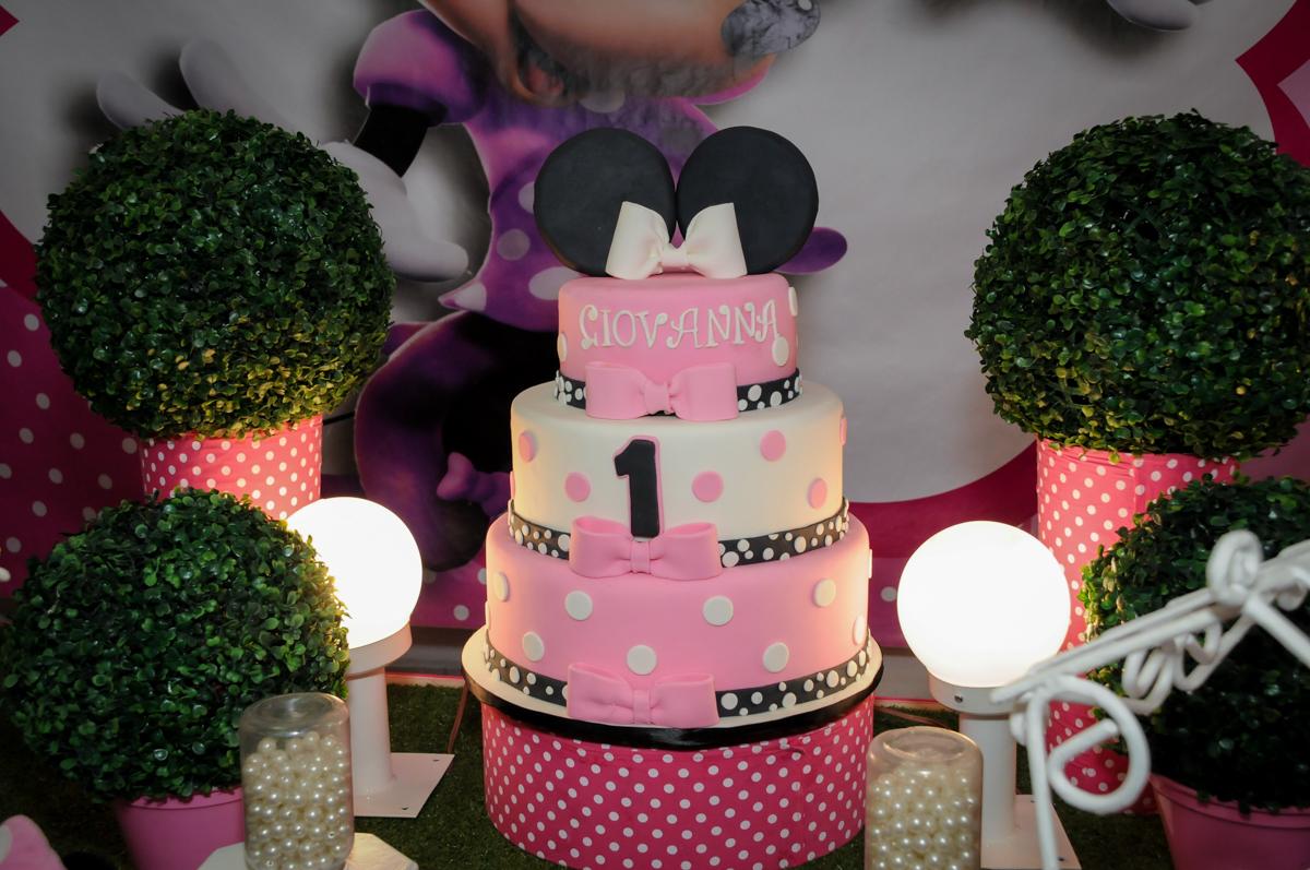 bolo decorado no Buffet Comics, Morumbi, São Paulo, SP, aniversario de Giovanna 1 aninho, tema da festa, minie rosa