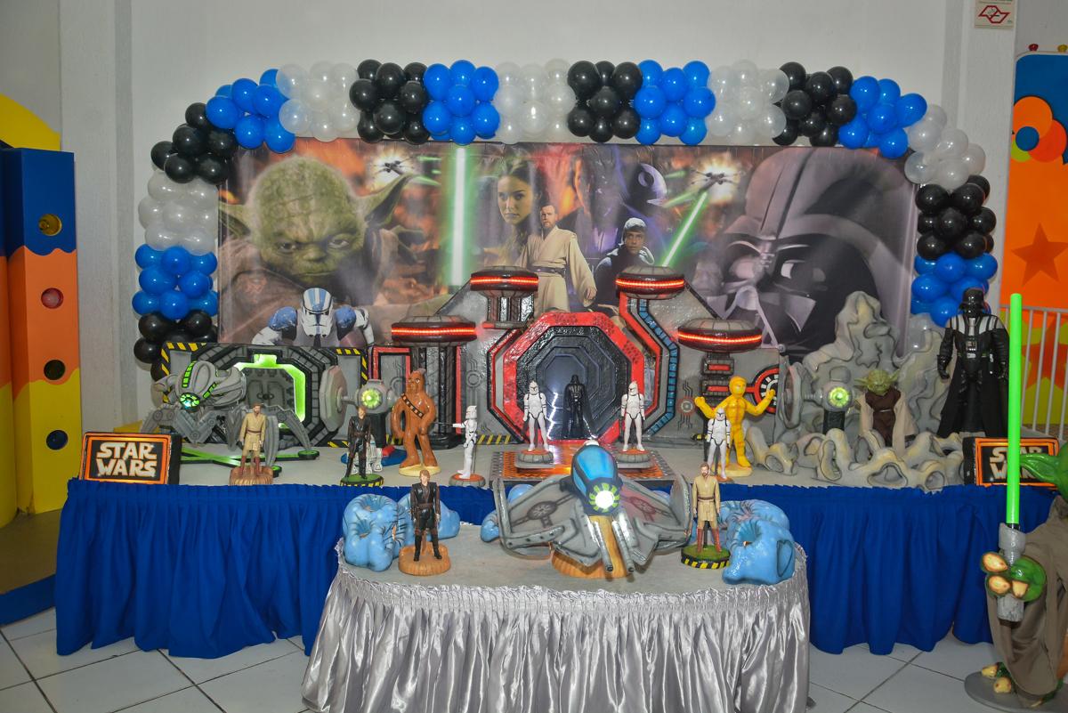 mesa temática no Buffet Salakaboom, Ipiranga, São Paulo, aniversário de Jonathan 7 anos, tema da festa Star Wars