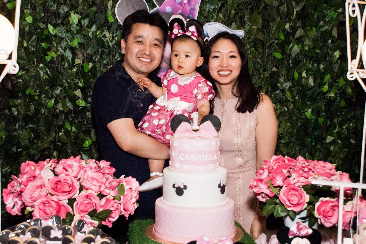 final da festa no Buffet Magic Joy, Saude São Paulo, aniversário de Gabriela 1 ano, tema da festa minie rosa