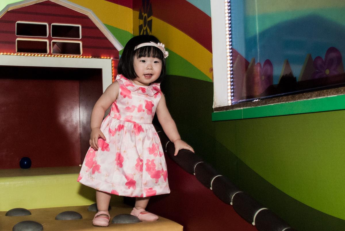 brincando na área baby no fotografia da família na mesa temática no Buffet Viva Vida, Butantã, São Paulo, aniversário de Julia Yumi, tema da festa Backardigans