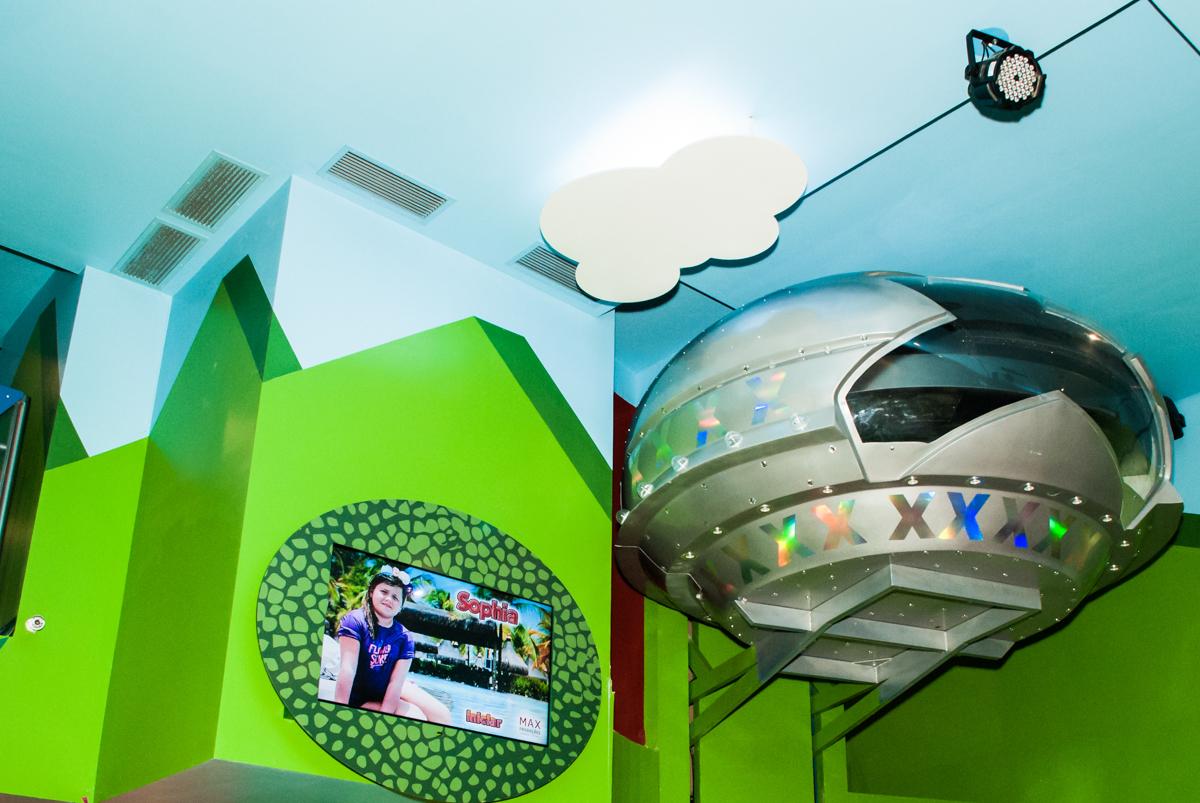 nave espacial no Buffet Casa X, Vila Leopoldina, aniversário de Sophia 7 anos, tema da festa Descendentes