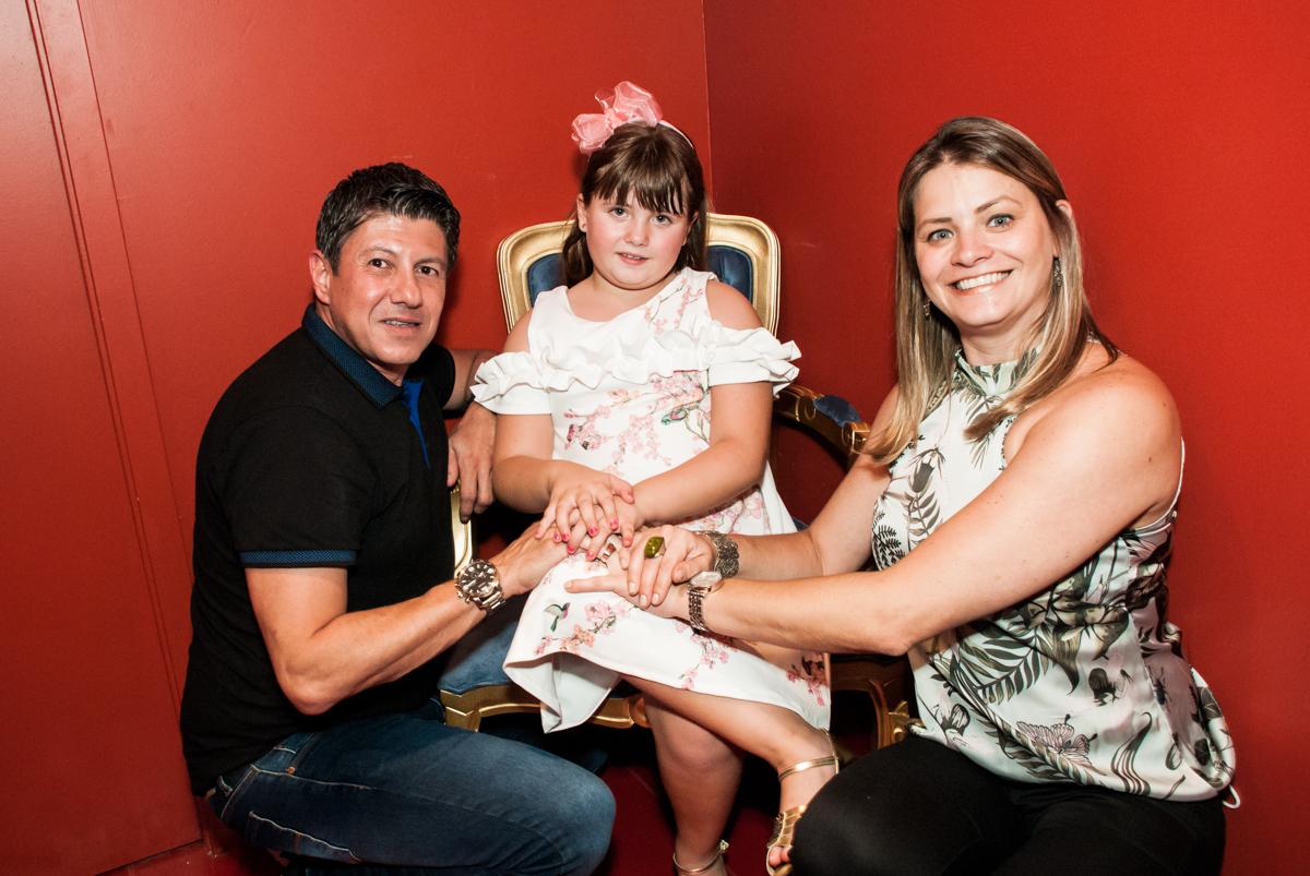 preparando para o parabéns no Buffet Casa X, Vila Leopoldina, aniversário de Sophia 7 anos, tema da festa Descendentes