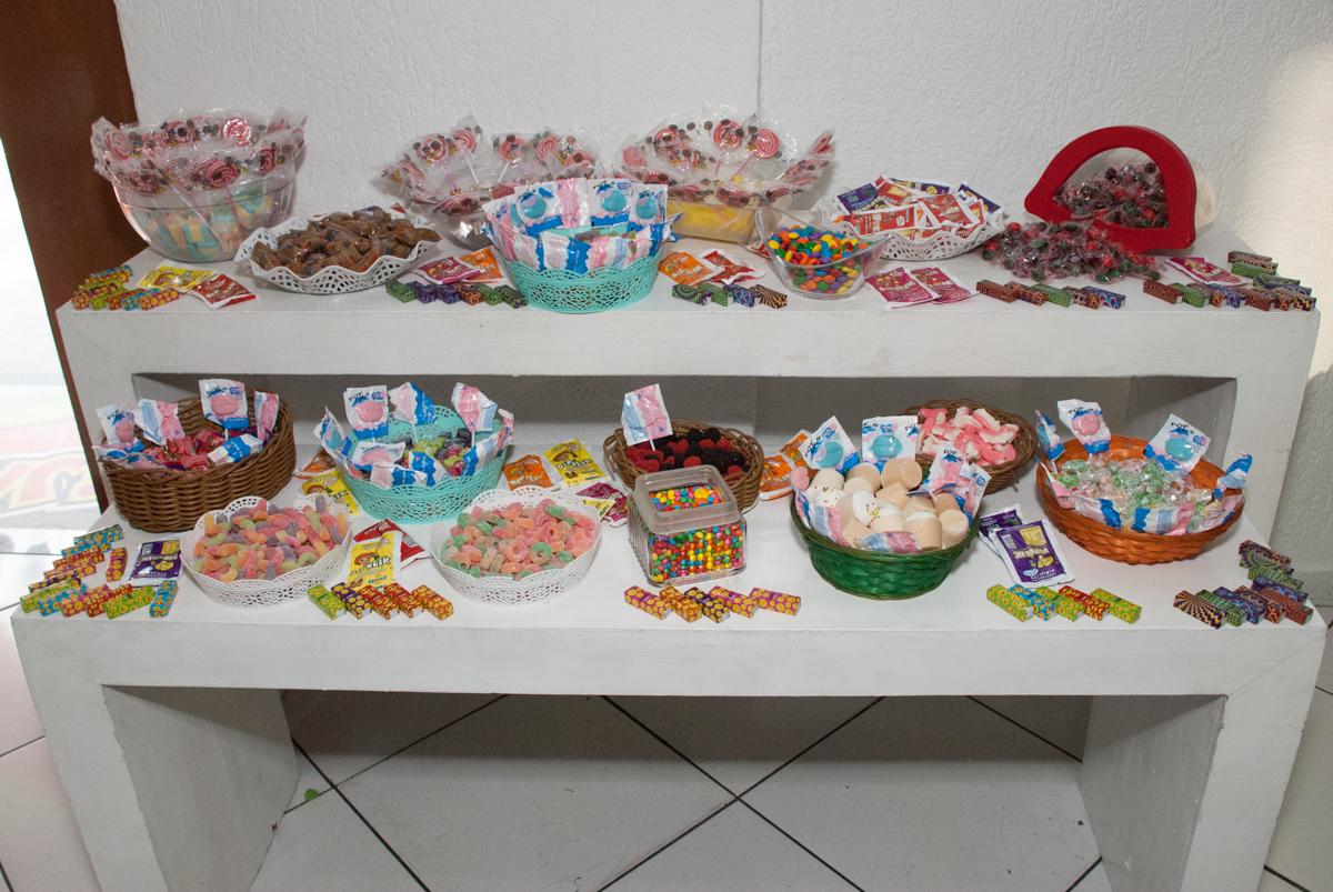 mesa de gulosemas no Buffet Fábrica da Alegria, Morumbi, São Paulo, aniversario de Pedro Henrique, 7 anos tema da festa mini craft