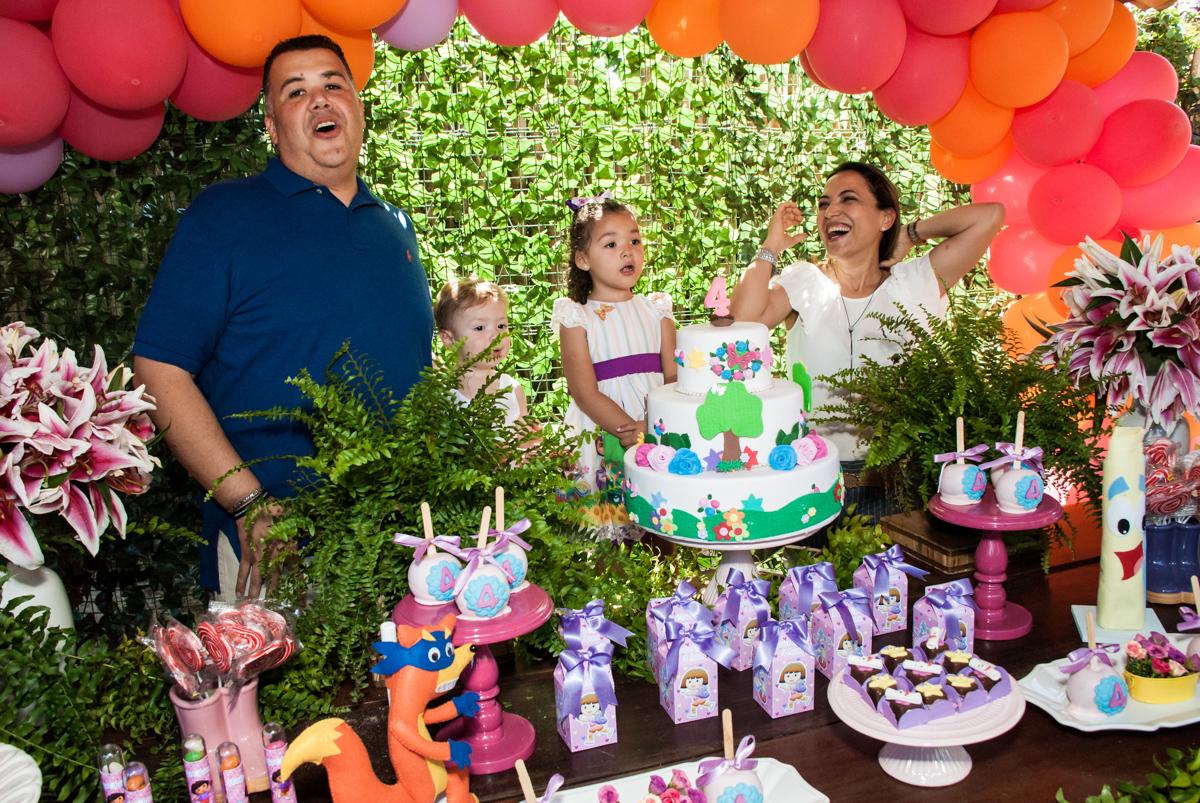 Parabéns animado no Buffet Pet Zoo, Cotia, São Paulo, aniversário de Maria Clara 4 anos, Buffet Pet Zoo, Cotia, São Paulo, tema da festa Dora a Aventureira