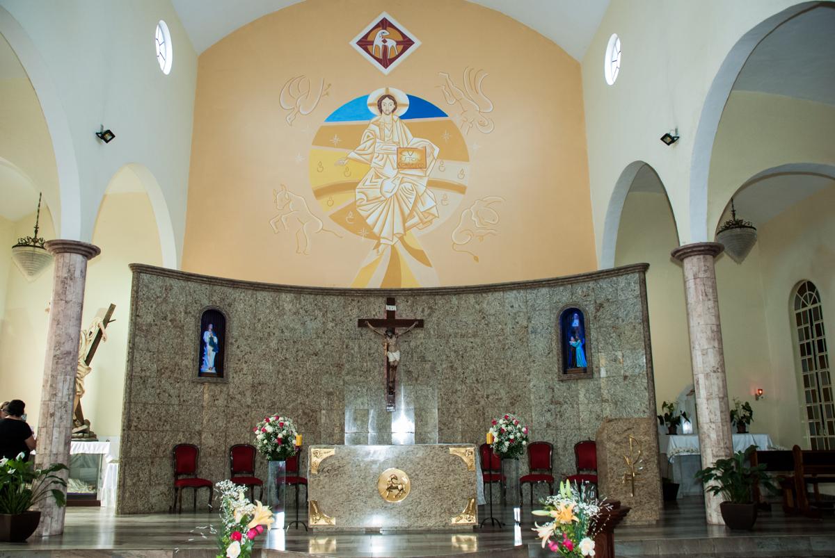 altar Bodas de Ouro Maria Luiza e José Rodrigues, igreja Santa Ângela e São Serapio, Ipiranga