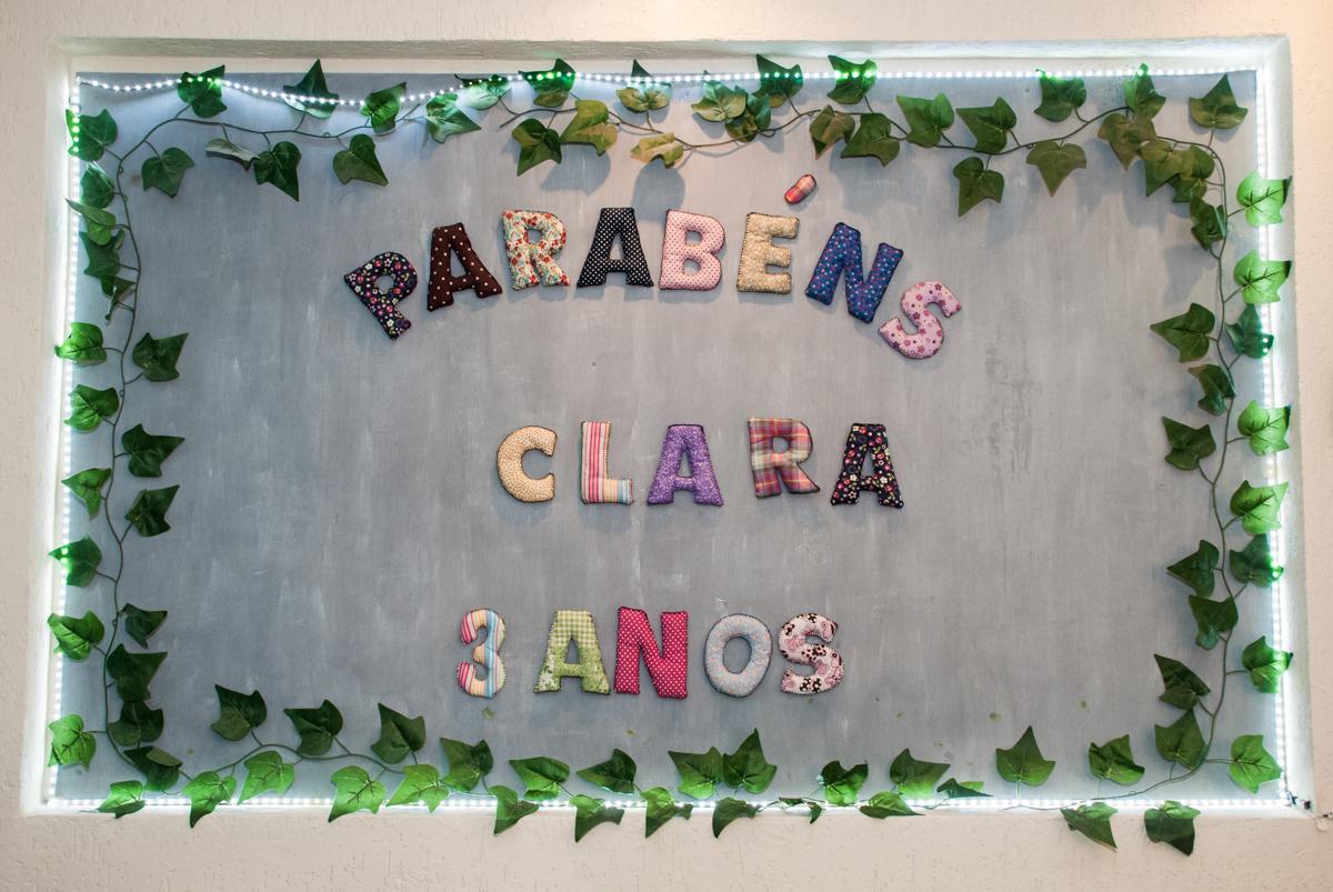 Placa de parabéns Claa 3 anos