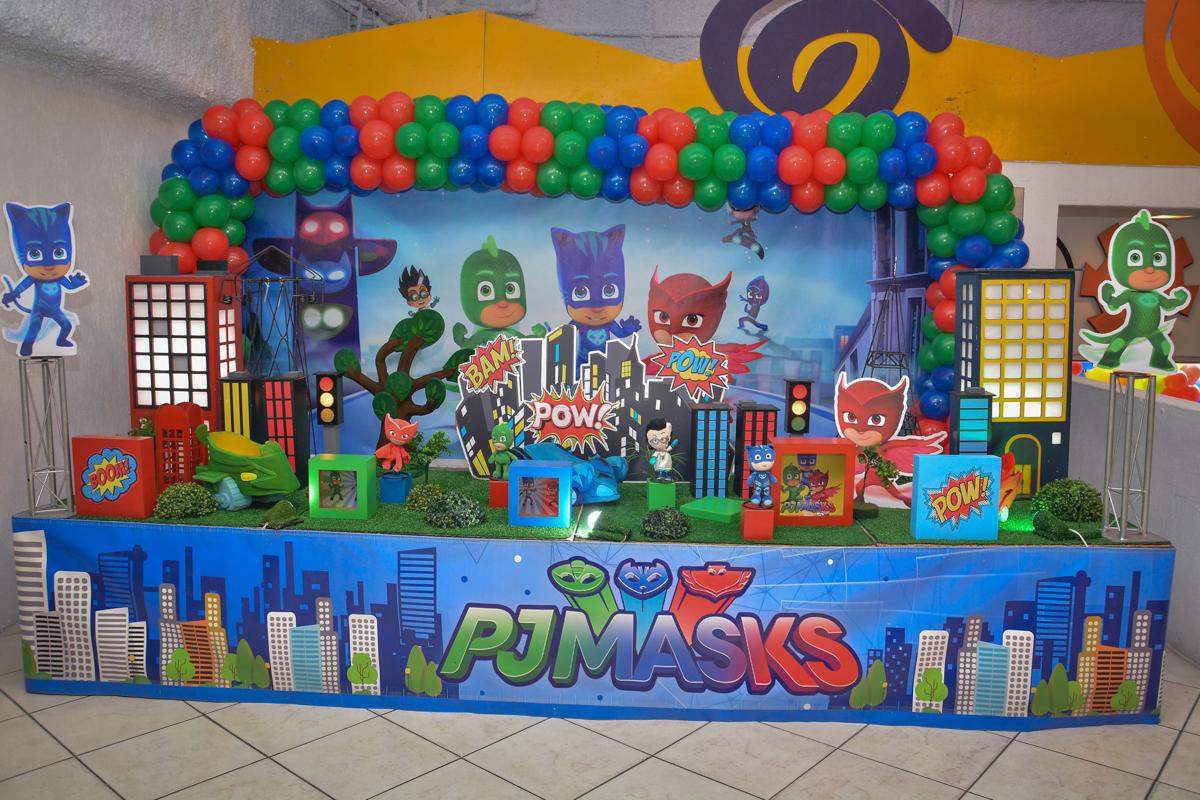 Buffet Fábrica da Alegria, Osasco, São Paulo, aniversário de Lucas 5 anos, tema da festa PJ MASKS
