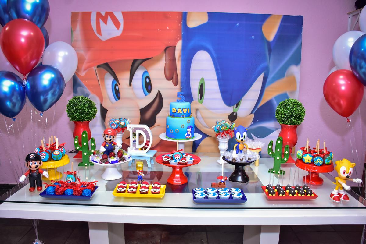 Aniversário de Davi 5 anos, festa realizada no Butantã, São Paulo, tema da festa Mario Bros