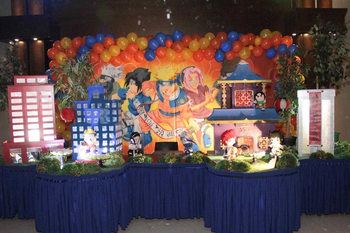 mesa decorada naruto no Buffet Planeta Prime, Alphaville