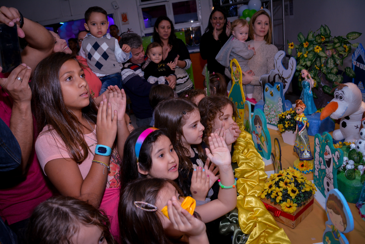 as crianças cantam parabéns para a aniversariante no Planeta Buffet, São Paulo