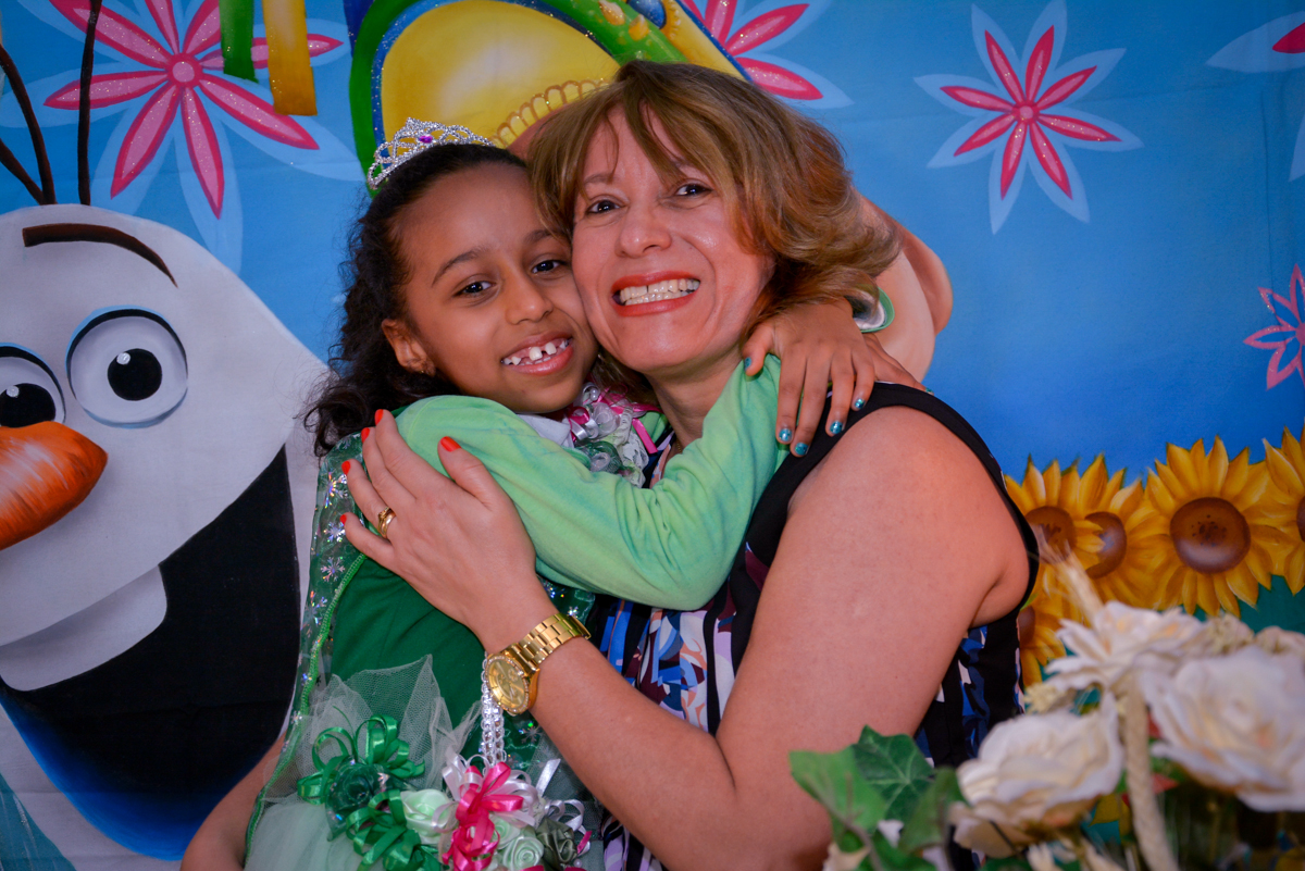 abraço carinhoso da mamãe na aniversariante no Planeta Buffet, São Paulo