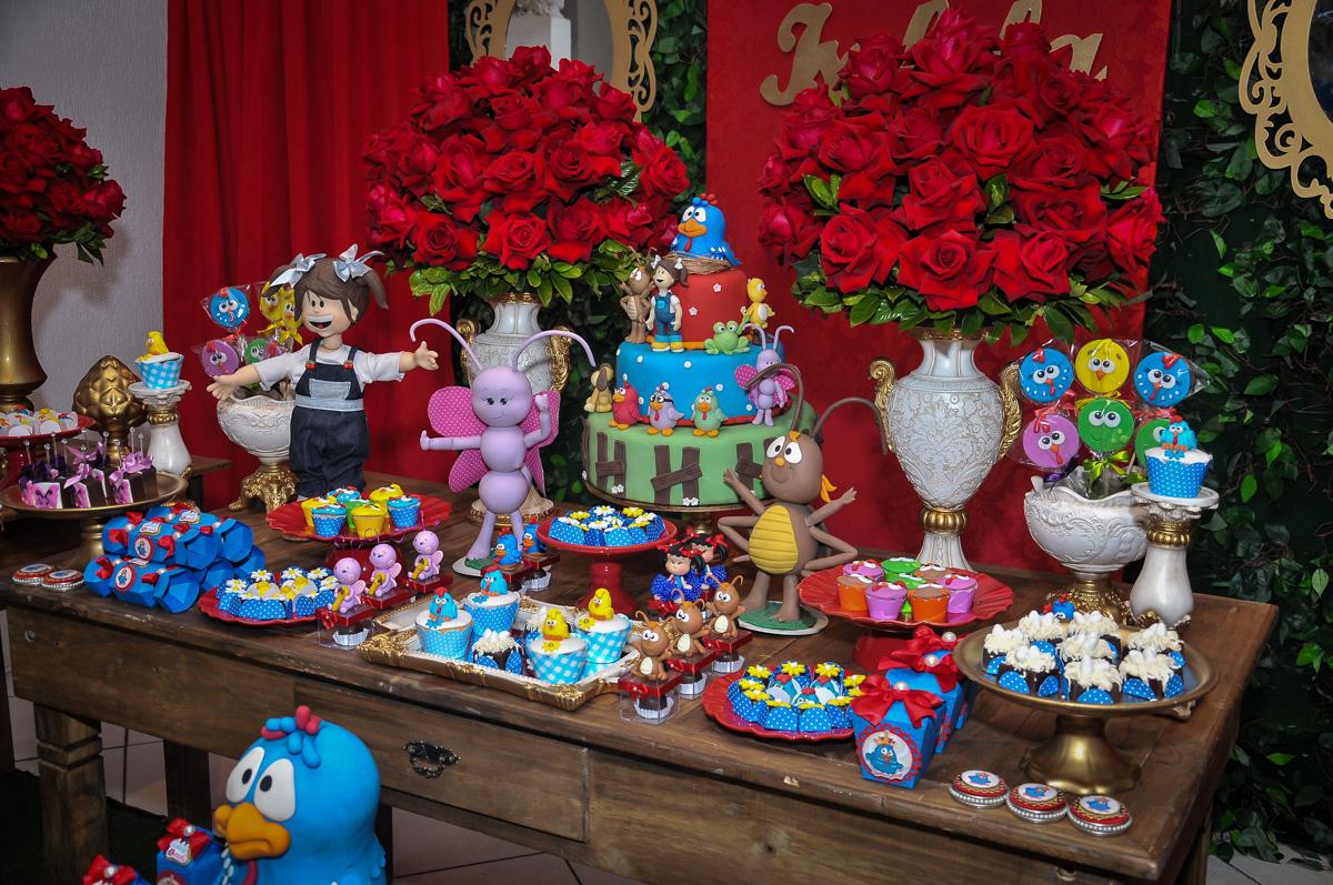 detalhes do tema da mesa galinha pintadinha no Buffet Fábrica da Alegria unidade Osasco