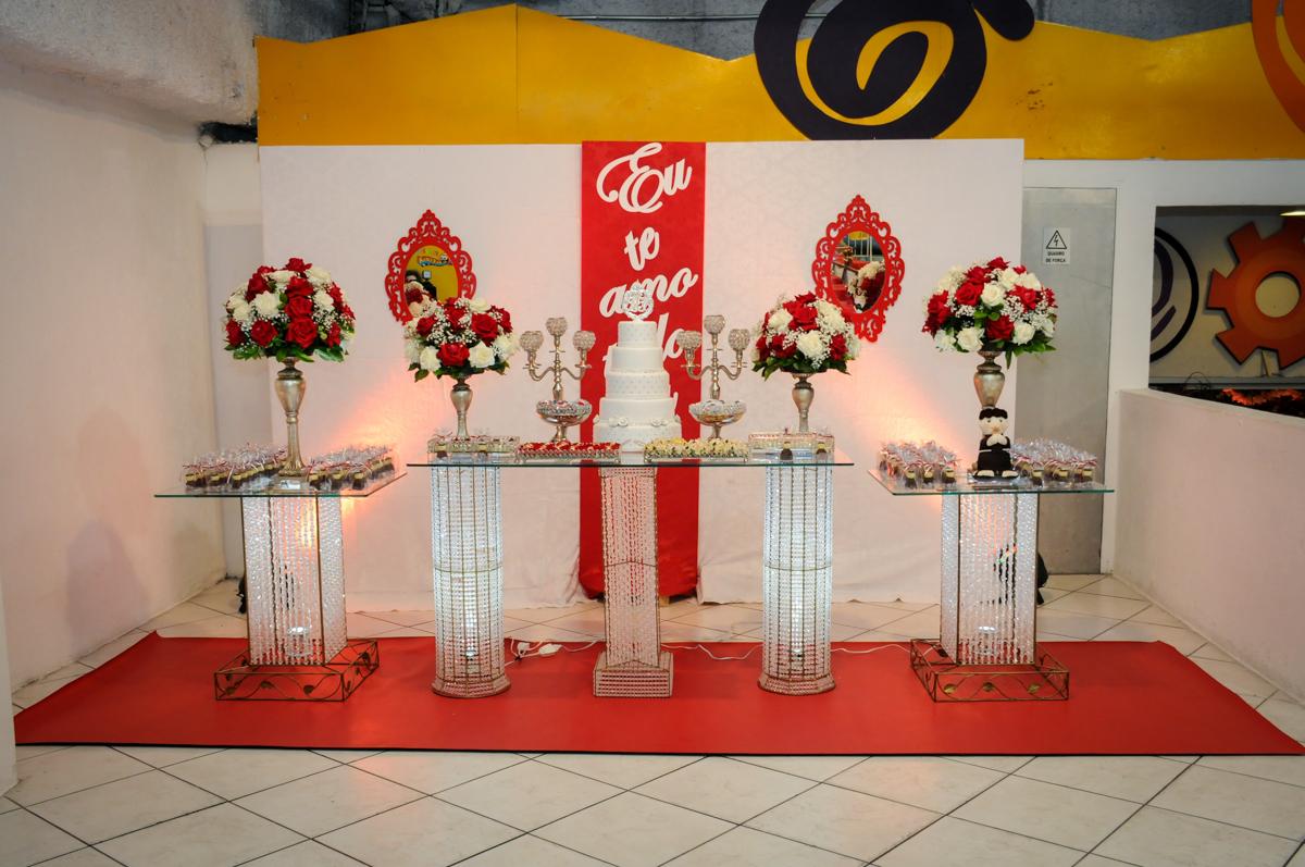 mesa decorada bodas de prata no Buffet Fábrica da Alegria, osasco, sp