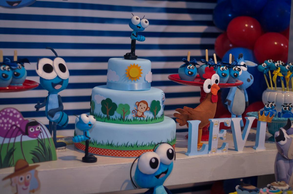 detalhe da mesa temática no Buffet Fábrica da Alegria, Osasco, festa do Levi 1 aninho, tema da festa Bob zoom