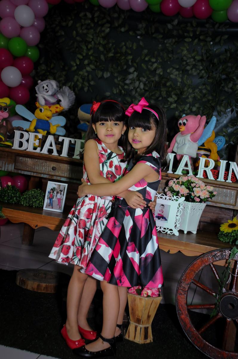 abraço carinhoso das irmãs gêmeas no Buffet A turma do Haroldo, Higienópolis, SP festa infantil Beatriz e Marina 6 anos
