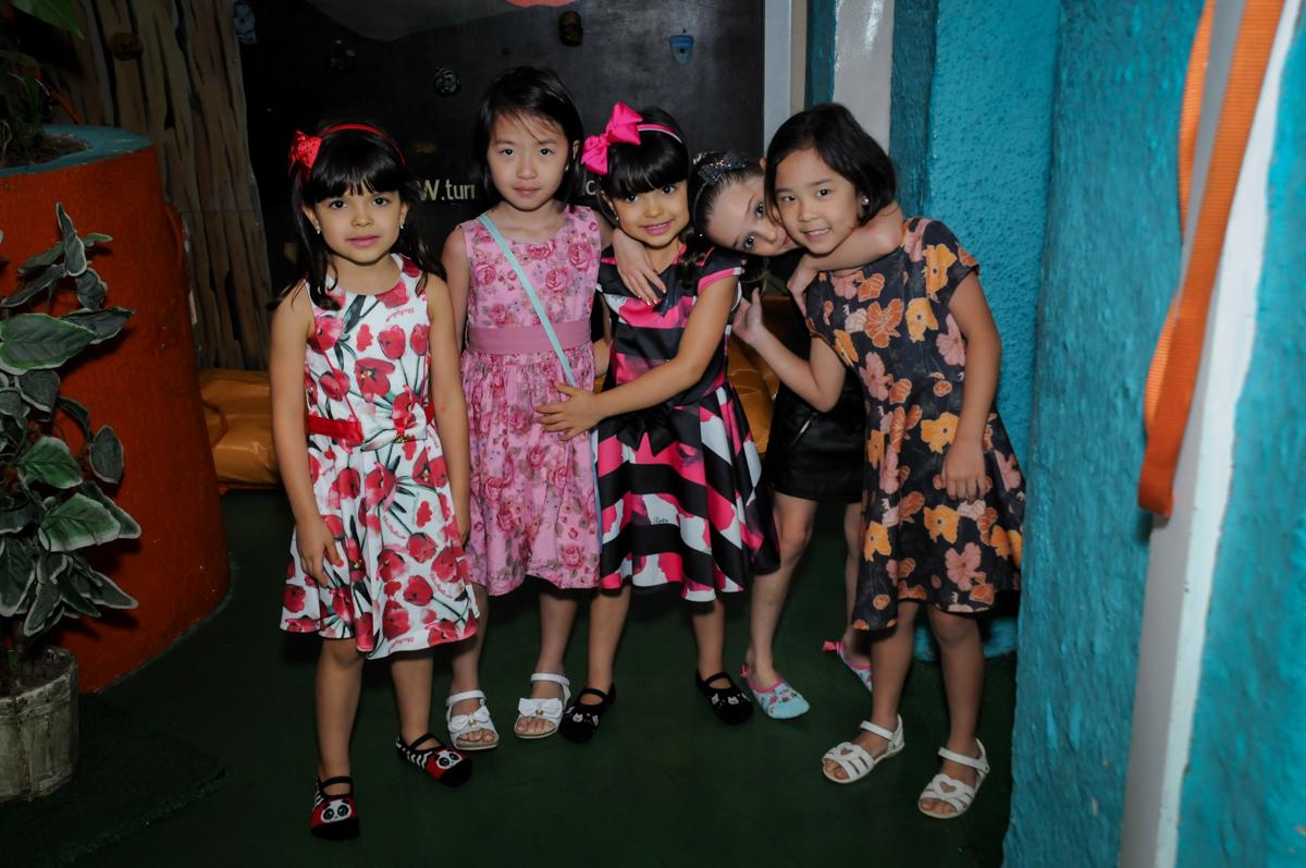amigas unidas para a foto no Buffet A turma do Haroldo, Higienópolis, SP festa infantil Beatriz e Marina 6 anos