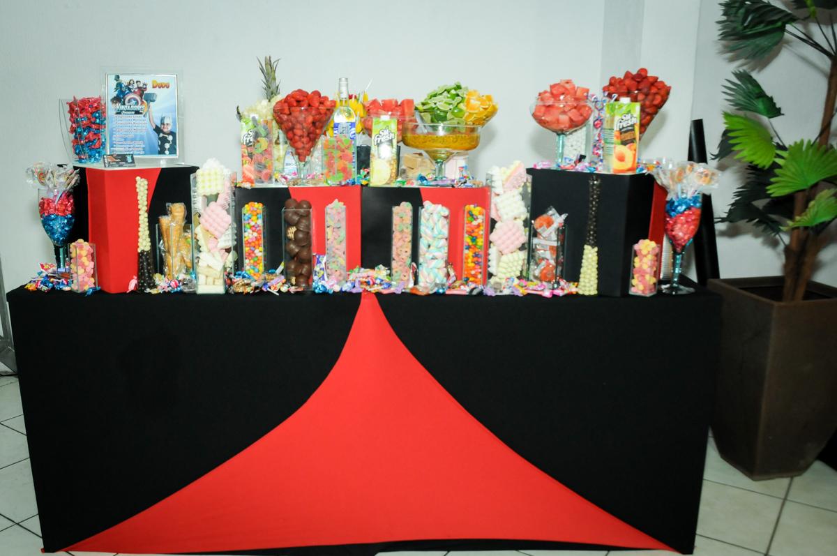 mesa de drinks na festa infantil,aniversário de eduardo 5 ano, buffet fábrica da alegria,osasco,sp,tema da mesa os vingadores