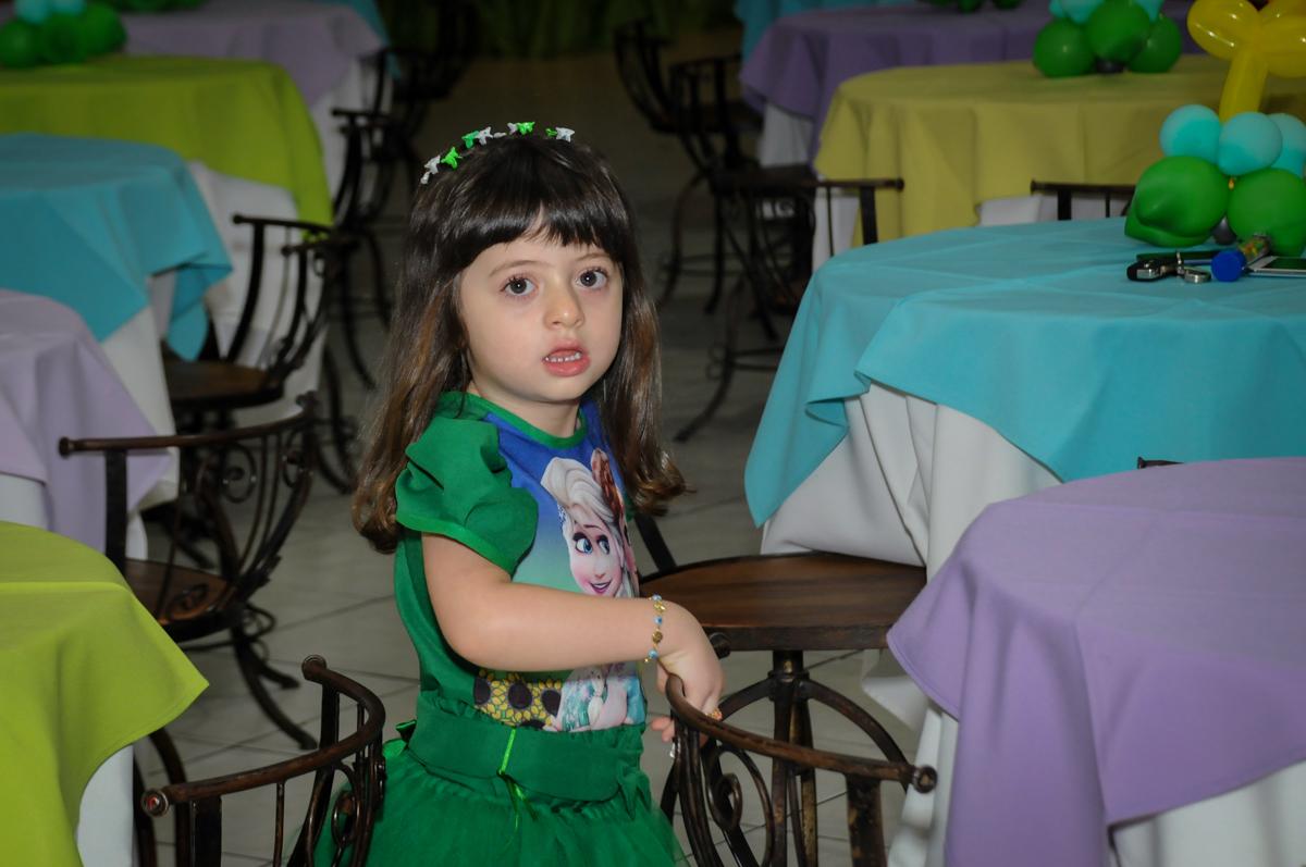 Foto da aniversariante no Buffet Fabrica da Alegria, Osaco, SP aniversario infantil, Natalia 4 anos, tema da festa Frozen