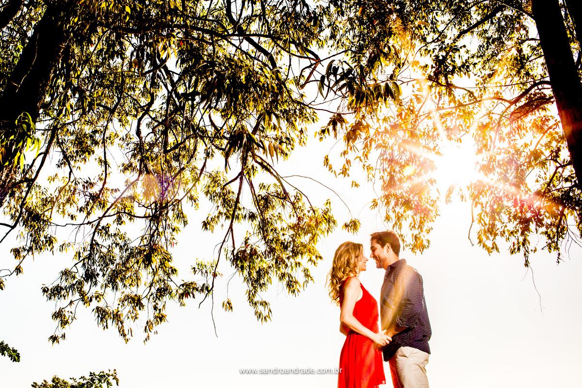 Com um lindo flair na fotografia de um dia lindo de sol, esse belo casal se encanta ao olhar nos olhos um do outro.