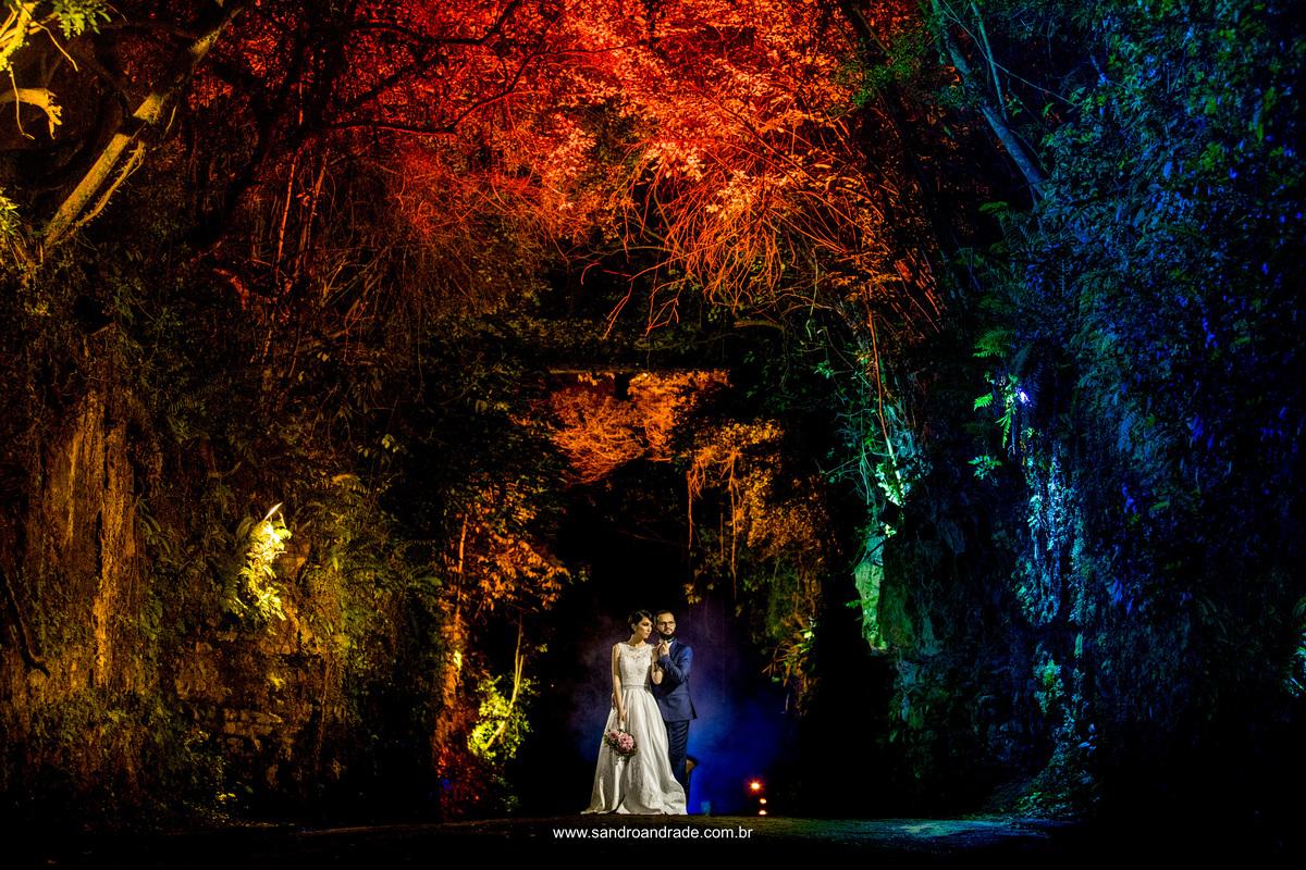 Fotografia colorida de corpo inteiro dos noivos em meio as arvores em tons de verde, azul, laranja e amarelo.