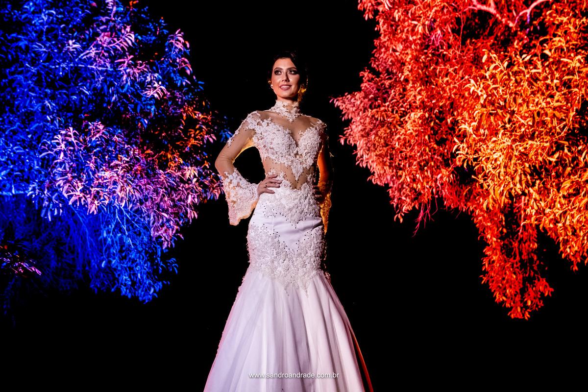 Vestido de noiva com muito bom gosto, ela esta pronta para dizer sim, fotografia de Sandro Andrade fotografo de casamentos de Brasilia.