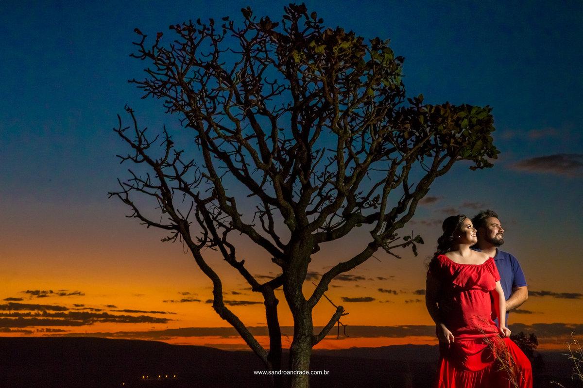 Com muita cor...esta fotografia traz amor, sombras, em composição com um céu maravilhoso e uma arvore com galhos secos.