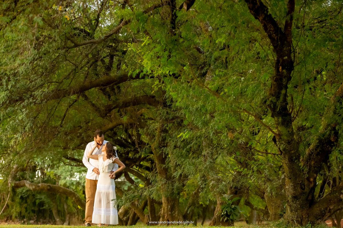 Em meio as arvores no Panteão da Pátria, linda fotografia colorida, o casal pra lá de apaixonado e o  fotografo de casamentos DF, Sandro Andrade não perdeu este momento de carinho.