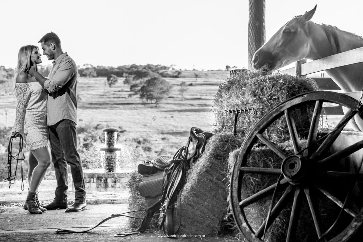 Uma linda fotografia preto e branco, os noivos apaixonados e o cavalo na baia comendo, muitos contrastes e amor.