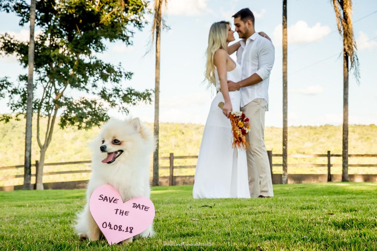 Save the date de Cecilia e Marco com o lindo Dom (cachorrinho( segurando a plaquinha com a data do casamento e o casal desfocado ao fundo.