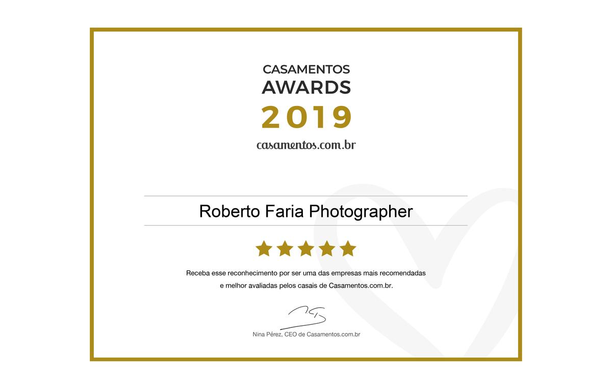 Imagem capa - Roberto Faria Photographer conquista Casamento Award na categoria Fotografia e vídeo, o prêmio mais importante do setor nupcial por roberto faria photographer