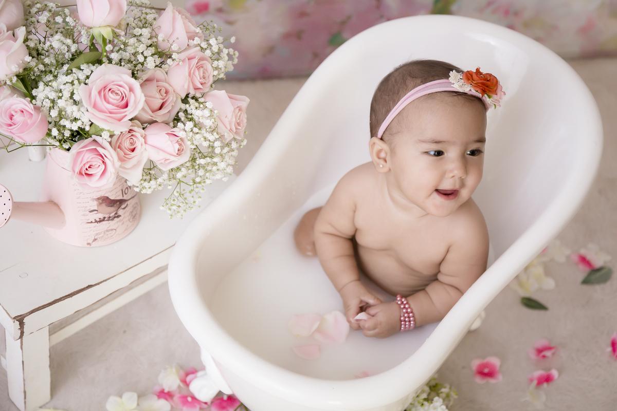 banheira vitoriana bebe, banho de leite, bebe de 7 meses, Gabi Aine Fotografia