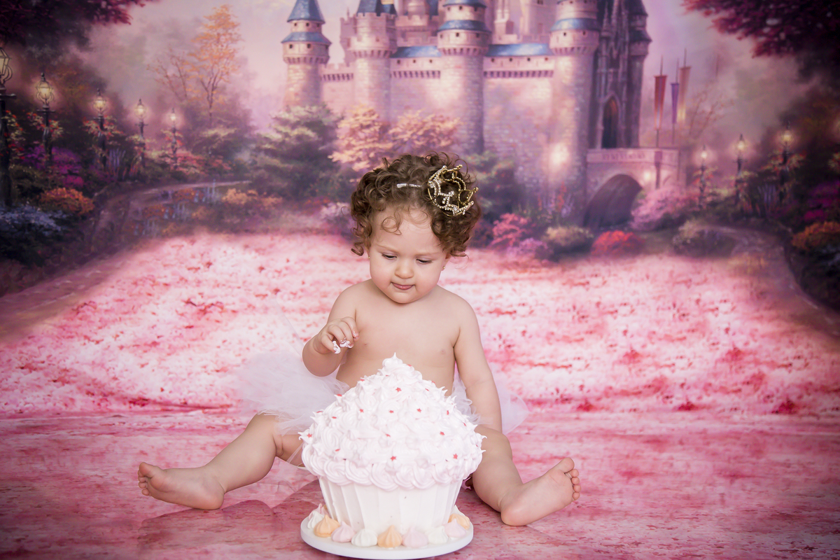 Ensaio com o bolo, smash the cake, tema princesa