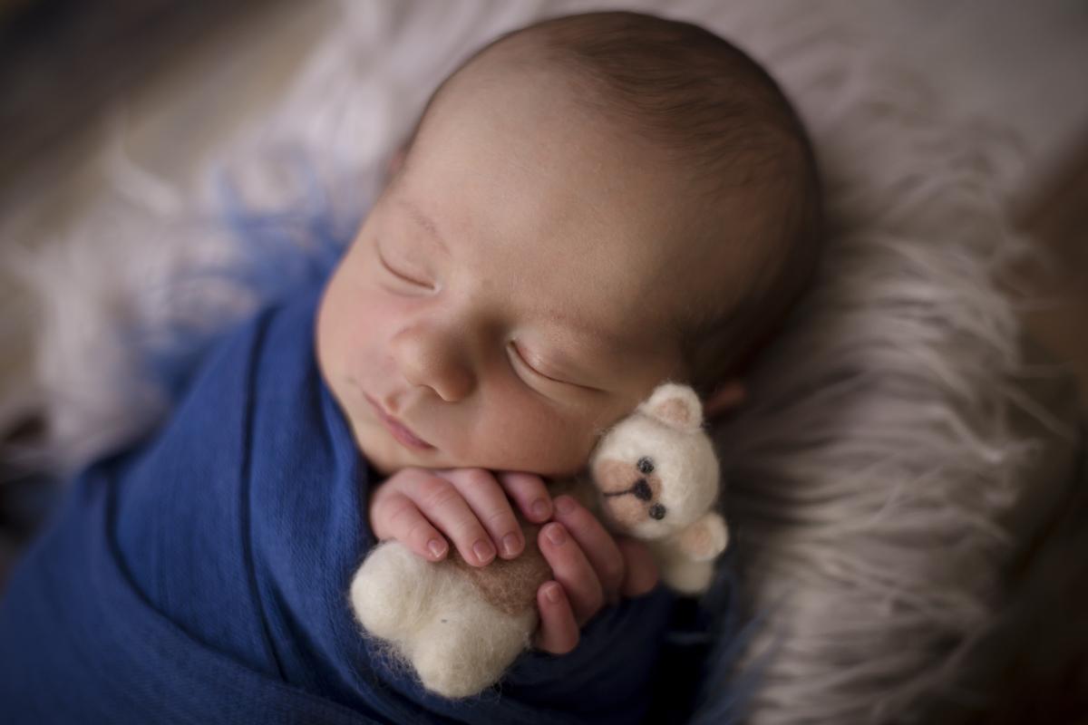 bebe newborn com ursinho, ensaio newborn em Brasilia no estúdio em Brasilia DF