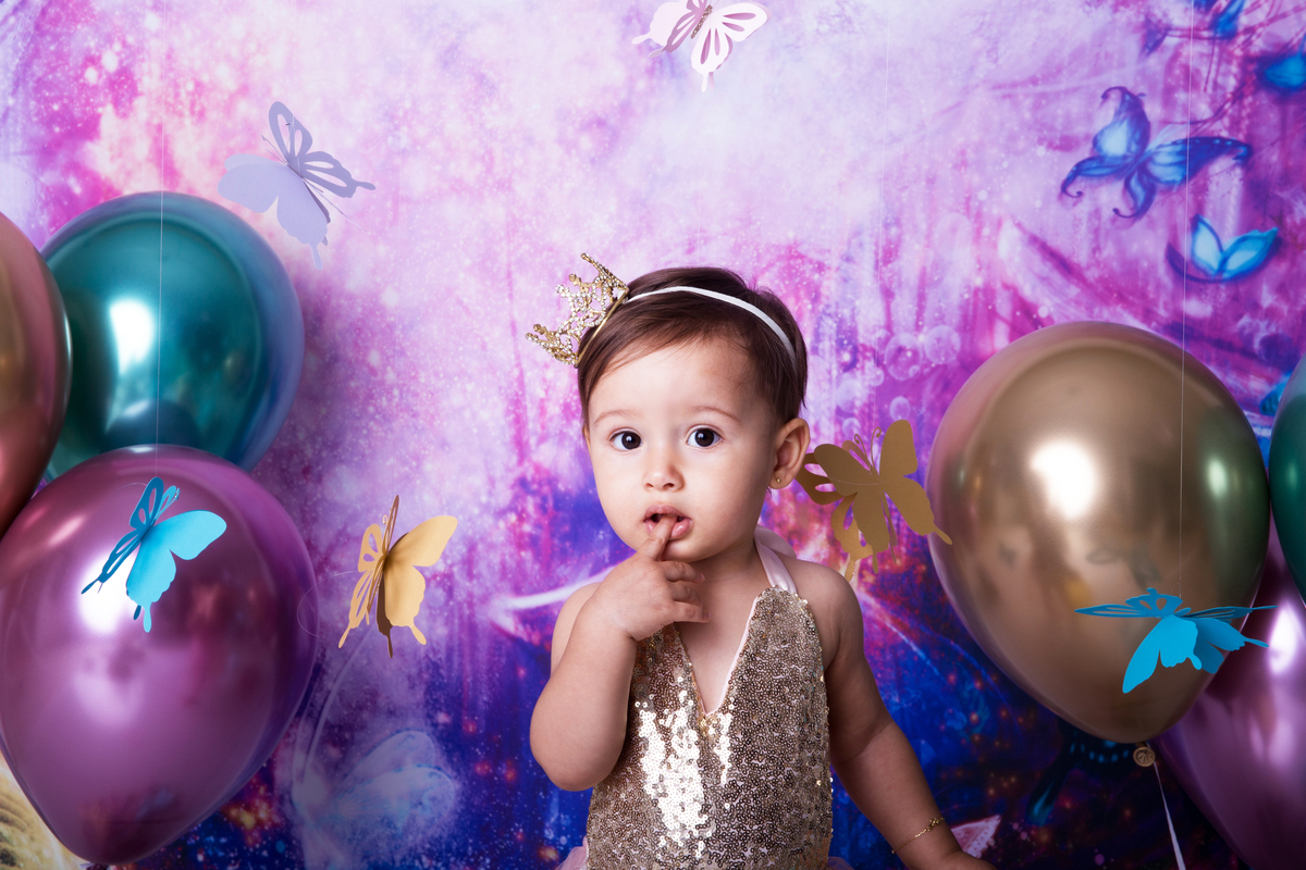 bebe 12 meses, tema jardim no seu ensaio smash the cake