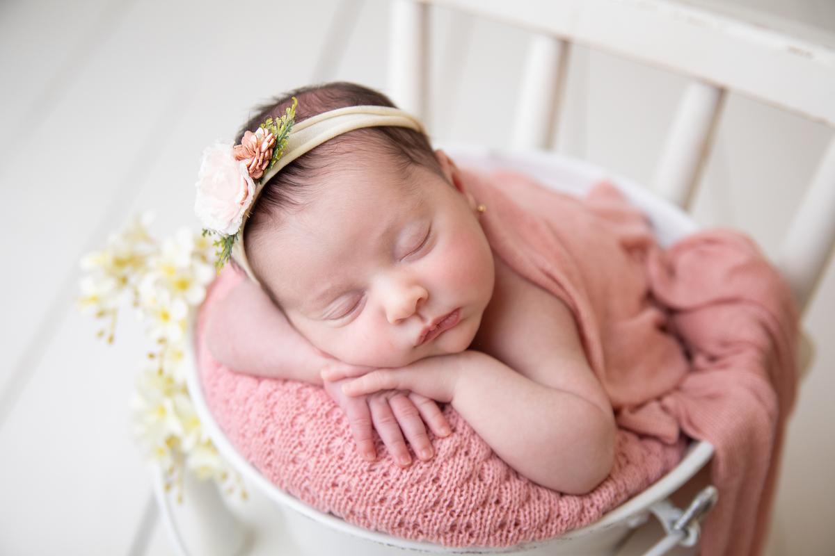 Dorminhoca ensaio de menina Newborn paleta rosa