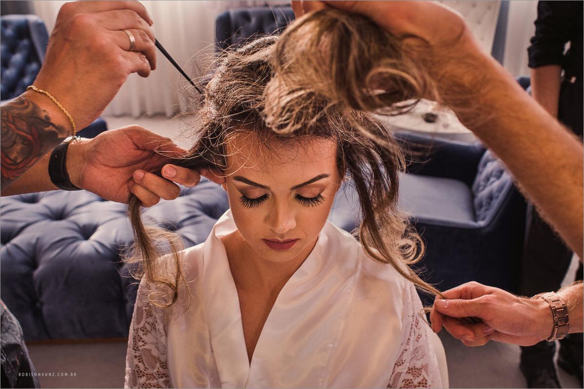 produzindo cabelo da noiva