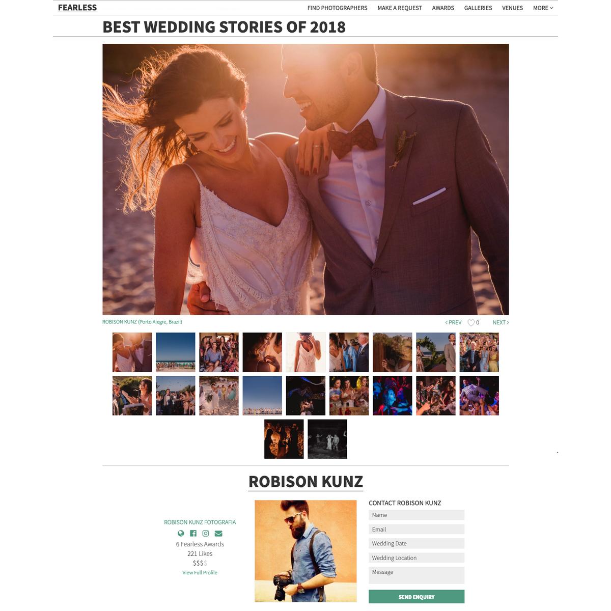 robison kunz premiado entre os melhores fotógrafos de casamento do mundo